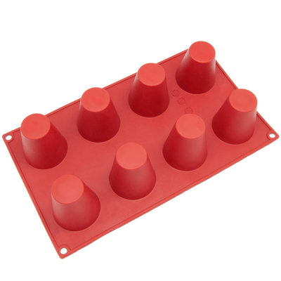 Freshware 8-Cavity Cylinder Pudding Silicone Mold and Baking Pan