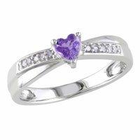 Amour Silver Diamond & Amethyst Heart Cut Ring, 6, White, Purple, 1 ea