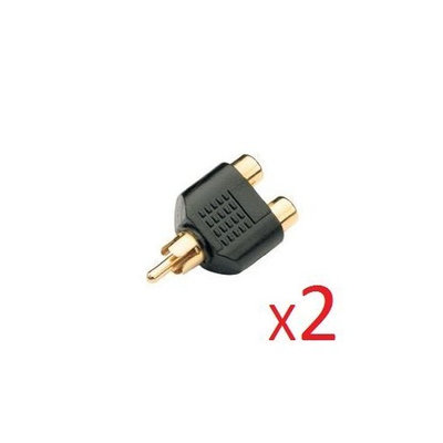 Wired Up Wired-Up 2 X GOLD 1 to 2 RCA PHONO AV AUDIO VIDEO Y SPLITTER ADAPTER (quantity 2)