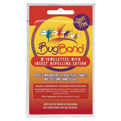 Bug Band Bugband Towelettes with Geraniol Insect Repellent - Foil 2pk
