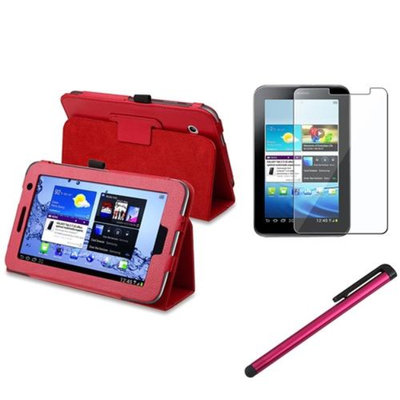 Insten INSTEN Red Folio PU Leather Case Cover Stand For Samsung Galaxy Tab 2 7.0