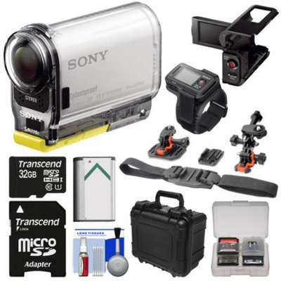 Sony Action Cam HDR-AS100VR Wi-Fi GPS HD Video Camera Camcorder & Live View Remote with 32GB Card + Battery + LCD Cradle + Helmet Mounts + Hard Case Kit