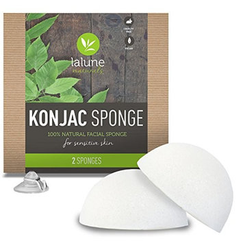 Konjac Sponge - 2 Pack, Natural - Konjac Facial Sponge - FREE All-Natural Skin Care eBook & Suction Hook - La Lune Naturals 100% Pure Konjac Cleansing Sponge, Facial Cleansing Sponge