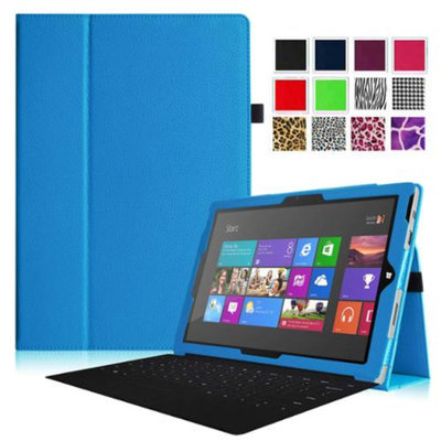 Fintie Folio Slim-Fit PU Leather Stand Cover with Stylus Holder for Microsoft Surface Pro 3 12-inch Tablet, Blue