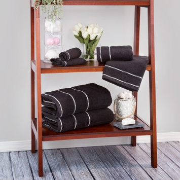 Lavish Home Zero Twist 100% Cotton 6 Piece Towel Set Color: Black