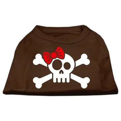 Ahi Skull Crossbone Bow Screen Print Shirt Brown XL (16)