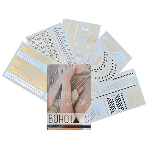 BohoTats Metallic Tattoos, Premium Set of 5 Sheets - Intricate Designs - Stunning Metallic Finish Tats - Non Toxic - Hard Wearing - Custom Flash Tattoos - Quality Guarantee