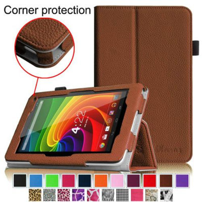 Fintie Toshiba Excite 7c AT7-B8 7-Inch Tablet Folio Case - Premium Vegan Leather Cover with Stylus Holder, Brown