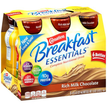Carnation Breakfast Essentials Ready To Drink, Rich Milk Chocolate, Chocolate, 6 ea