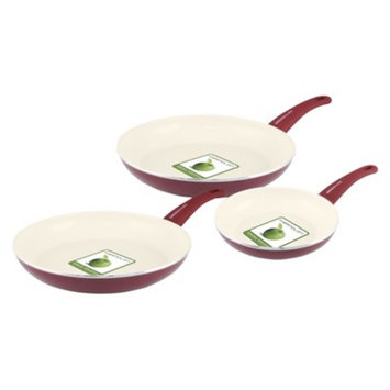 Green Pan GreenLife 3 Piece Ceramic Skillet Fry Pan Set - Burgandy