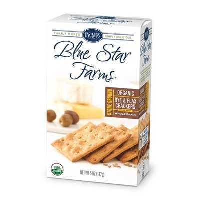 Partners Blue Star Farms Organic Stoned Ground Rye and Flax Crackers, 5-Ounce Boxes (Pack of 6)