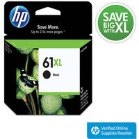 HP 61XL Printer Ink Cartridge - Black (CH563WN#140)