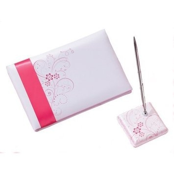 Lillian Rose Collection Lillian Rose 10-Inch Pink Floral Guest Book and 3.25-Inch Pen Set