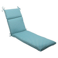 Pillow Perfect Outdoor Chaise Lounge Cushion - Teal/White Geometric