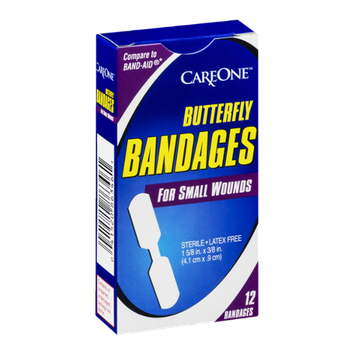 CareOne Butterfly Bandages for Small Wounds - 12 CT