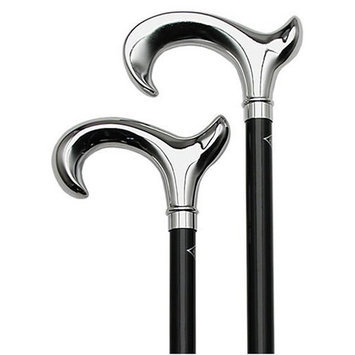 gracehealthcare Shiny Chrome Black Cane Beechwood Handle -Affordable Gift! Item #DHAR-9763200