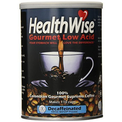 HealthWise 100% Colombian Supremo, Decaffeinated, Swiss Water Process Low Acid Ground Coffee, 12-Ounce Cans (Pack of 3)