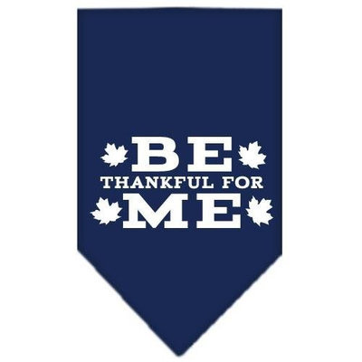 Mirage Pet Products 66-91 SMNB Be Thankful for Me Screen Print Bandana Navy Blue Small