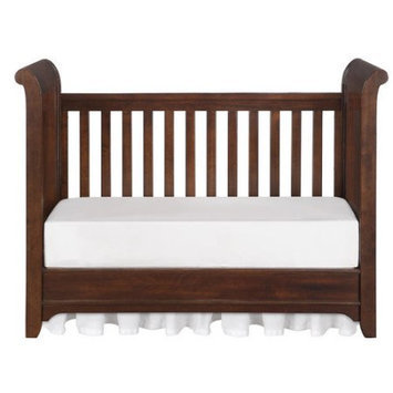 Bertini Pembrooke Classic Upholstered 3-in-1 Convertible Crib with Toddler Rail - Dark Walnut