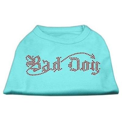 Mirage Pet Products 5207 XLAQ Bad Dog Rhinestone Shirts Aqua XL 16