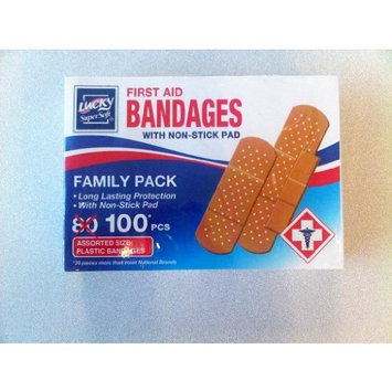 Lucky SuperSoft First Aid Bandages (Adhesive Bandaids) with Non-Stick Pad, 100-count pack, Assorted Sizes (40: 3