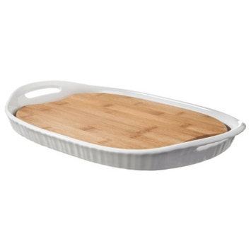 Corningware CorningWare French White III Platter with Wood Insert