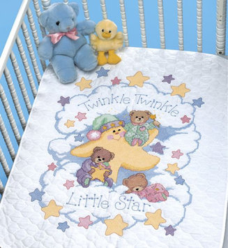 Dimensions Stamped Cross Stitch Baby Quilt Kit - Twinkle Twinkle