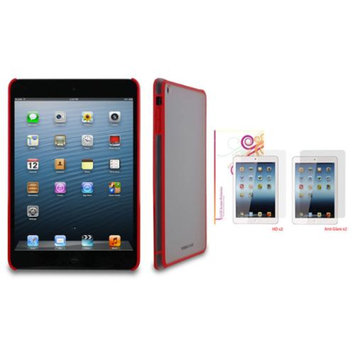 rooCASE Fuse Shell Case Cover + 4-Pack LCD Film for iPad Mini Retina, Red