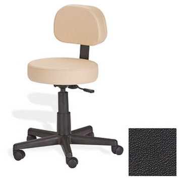 Earthlite Rolling Stool with Back Support, Black, 1 ea