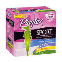 Playtex Sport Multi-Pack Light/Regular/Super Unscented Plastic Tampons - 36 CT
