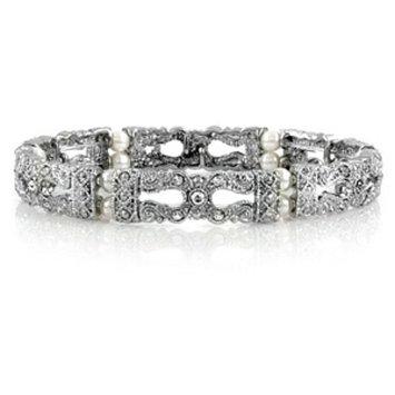Emitations Raquel's Faux Pearl Stretch Vintage Bridal Bracelet