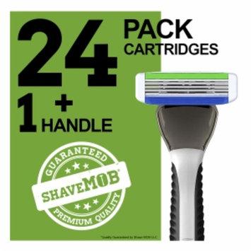 Shavemob ShaveMob Men's 3 Blade Shaving Razor Kit - 24 Cartridges & 1 Handle, 1 set