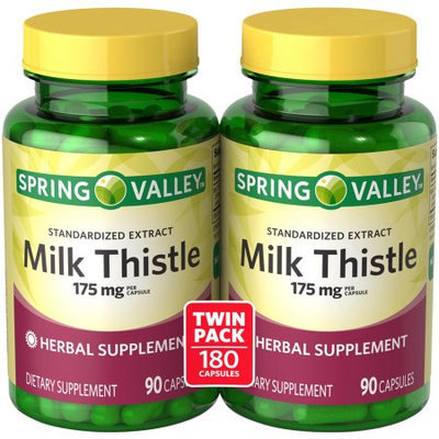 Spring Valley Milk Thistle Dietary Supplement Capsules, 175mg, 90 count (Pack of 2)