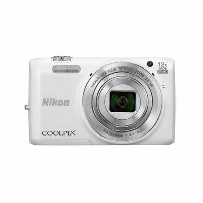 Nikon S6800 16MP Digital Camera with 12 X Optical Zoom - White