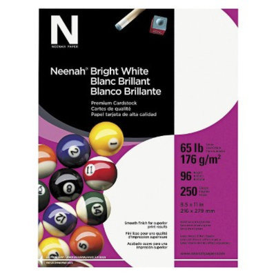 Neenah Paper Bright White Card Stock, 65 lbs - White (250 Sheets Per