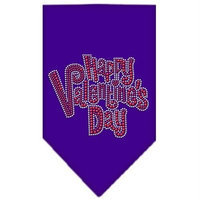 Ahi Happy Valentines Day Rhinestone Bandana Purple Small