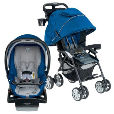 Combi Cabria Stroller and Shuttle Infant Car Seat Bundle - Royal Blue by