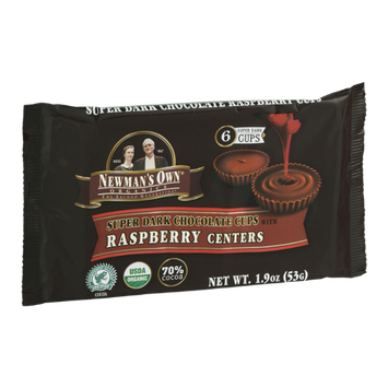 Newman's Own Organics Super Dark Chocolate Cups With Raspberry Centers - 6 CT