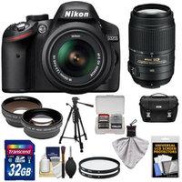 Nikon D3200 Digital SLR Camera & 18-55mm G VR DX AF-S Zoom Lens (Black) + 55-300mm VR Lens + 32GB Card + Case + Filters + Tripod + Telephoto & Wide-Angle Lens Kit