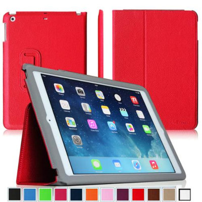 Fintie Ultra Slim Leather Standing Case Cover Auto Sleep / Wake Feature for iPad Air 5 (5th Generation), Red