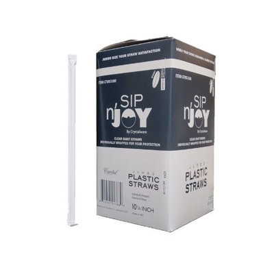 Crystalware Giant (Jumbo) Clear Straws Individually Wrapped 10-14 300box
