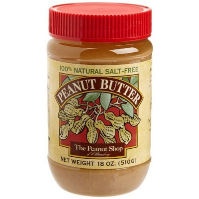 The Peanut Shop of Williamsburg Peanut Butter, Unsalted Smooth, 18-Ounce Plastic Jars (Pack of 4)