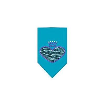 Ahi Zebra Heart Rhinestone Bandana Turquoise Large