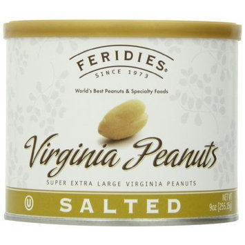 FERIDIES Salted Virginia Peanuts, 9-Ounce Cans (Pack of 4)