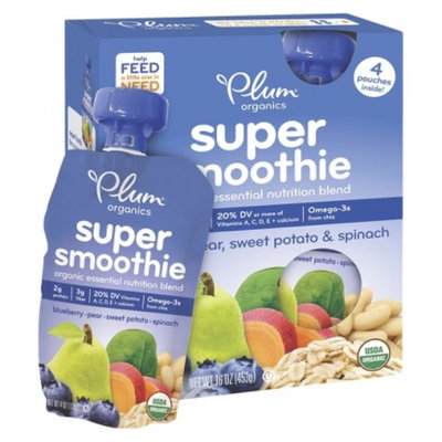 Plum Organics Super Smoothie - Blueberry Pear 16oz (4 Pack)