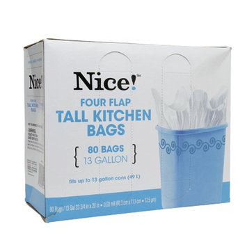 Nice! Four Flap Tall Kitchen Bags, 13 Gallon