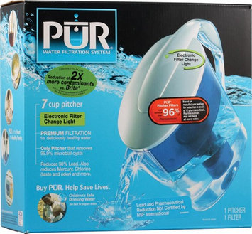 PUR CR-6000C 7 Cup Water Filter Pitcher with Electronic Filter Change Light