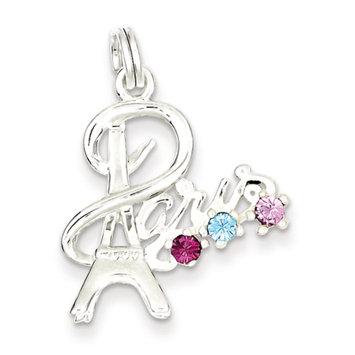 Cellini, Inc goldia Sterling Silver Paris Multi-color Preciosa Crystal Charm