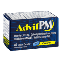 Advil PM Pain Reliever/Nighttime Sleep-Aid Coated Caplets - 40 CT