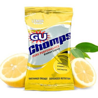 G.U. GU Chomps Pure Performance Energy Chews, Lemon, 2.1 oz Bag - Box of 16